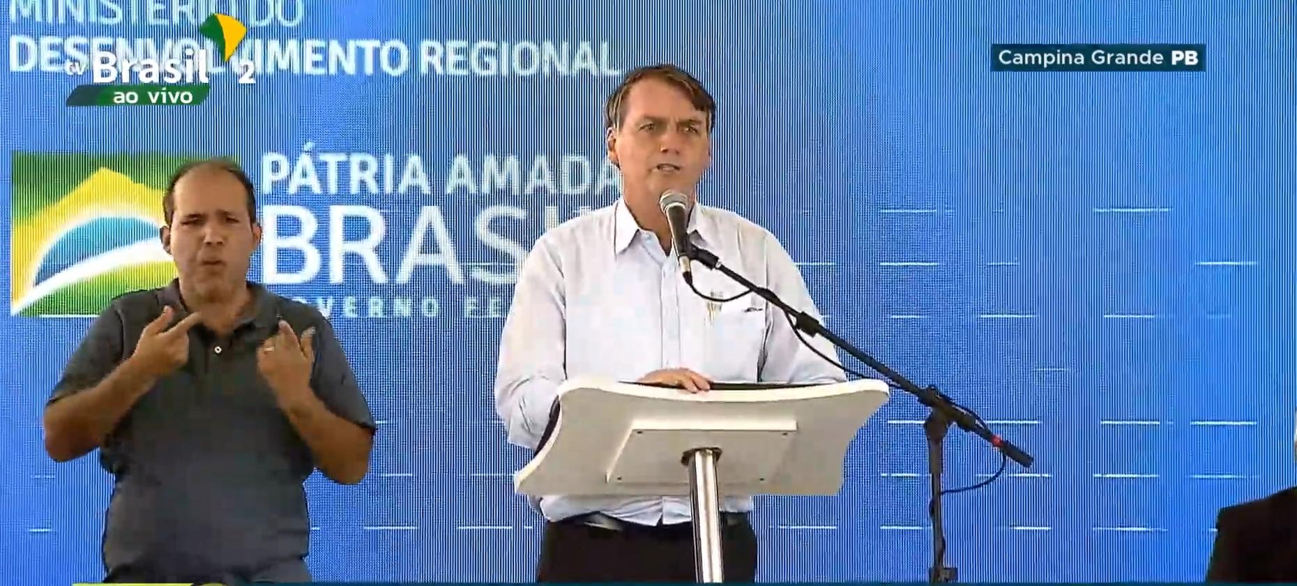 Bolsonaro dedicou os seus dez primeiros minutos de discurso oficial no Aluízio Campos para rasgar elogios ao ex-senador Cássio Cunha Lima.