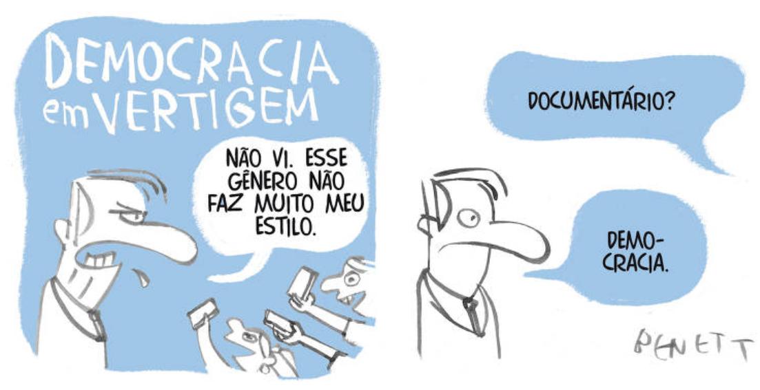 Bolsonaro e 'Democracia em Vertigem' são temas das charges desta quinta