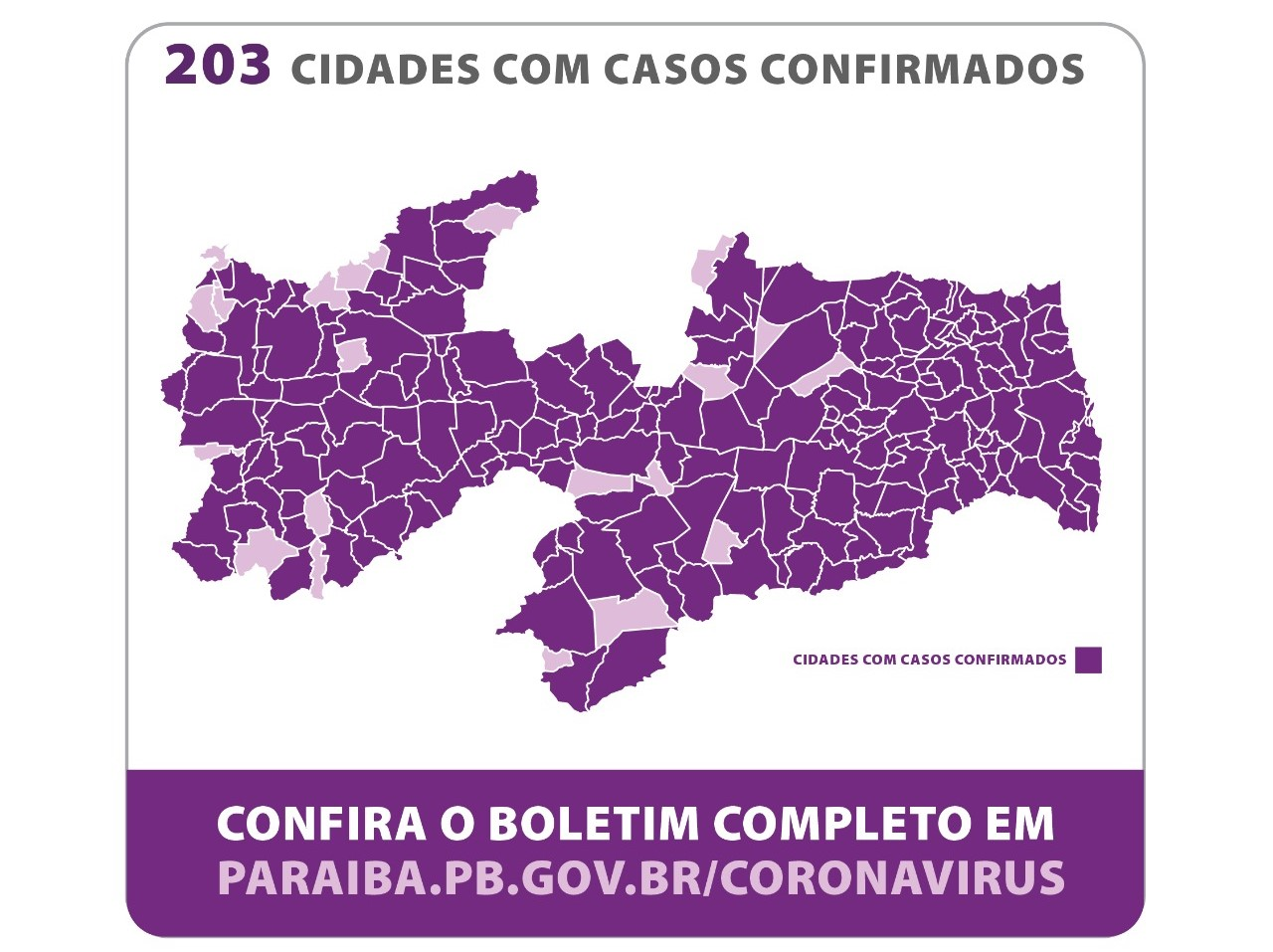 Passa de 200 o número de municípios com covid-19, na PB