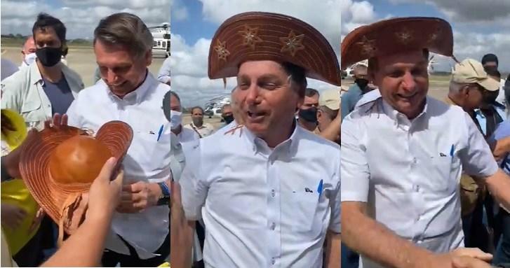 Após áudio onde diz que quer dinheiro, Virgolino não se constrange e entrega chapéu a Bolsonaro